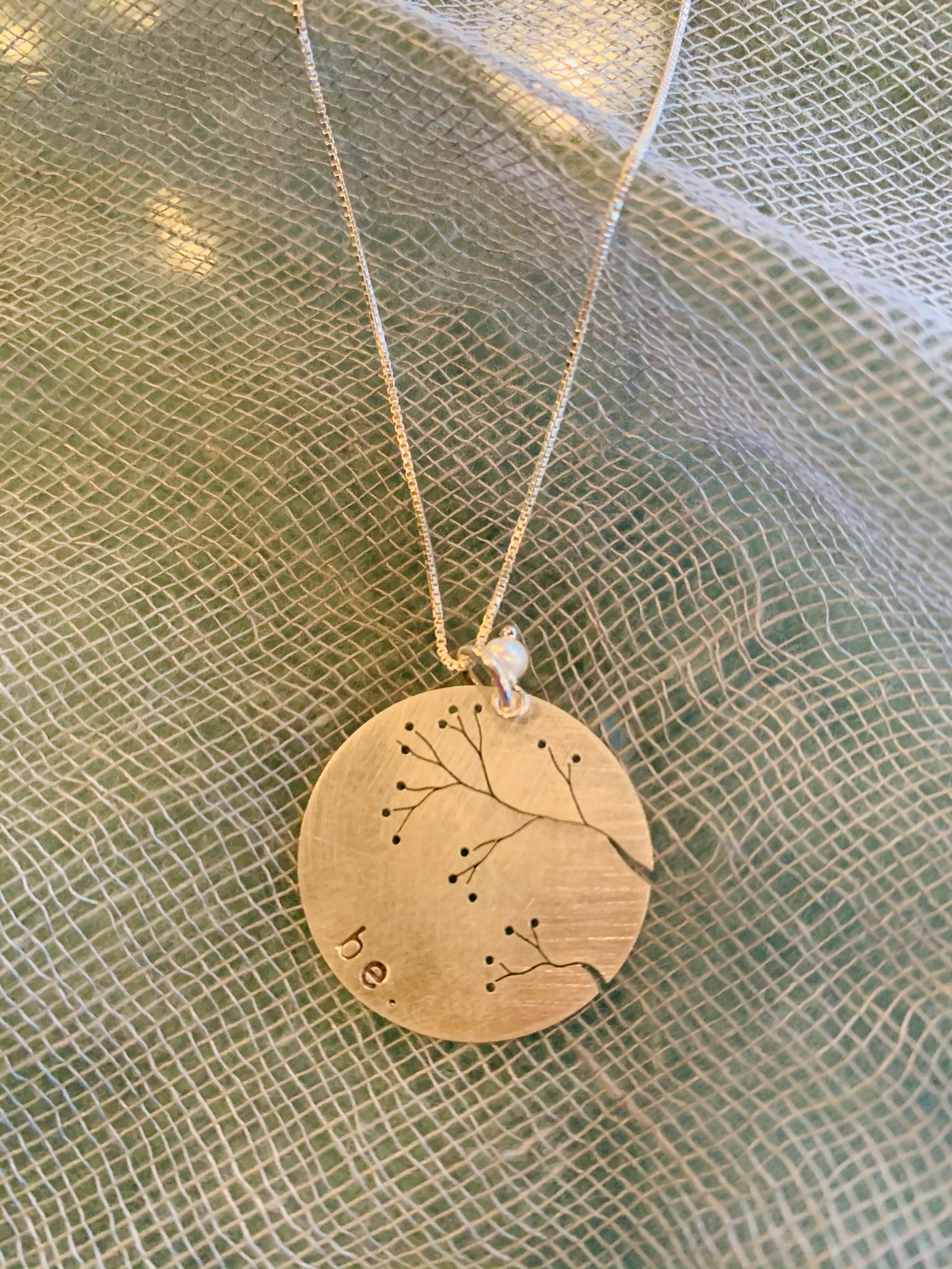 Cut Tree Be Sterling Silver Disc Necklace
