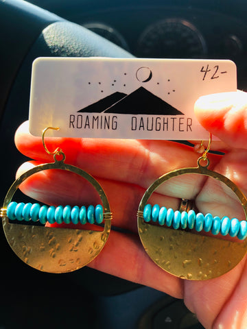 Hammered Brass & Turquoise Beaded Earrings