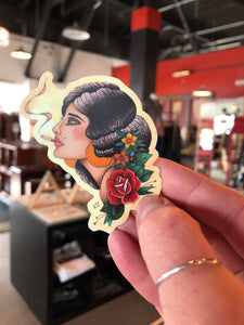 Smoking Lady Sticker by Katelyn VanLandingham