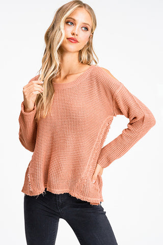 Peach Shoulder Sweater