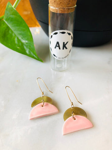 Blush Ceramic & Brass Earrings