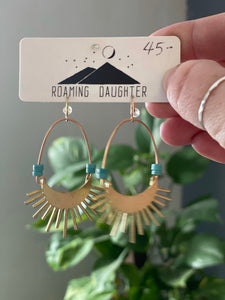 Roaming Daughter Brass and Teal Spiney Earrings