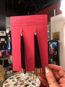 Long Leather Tassel Earrings
