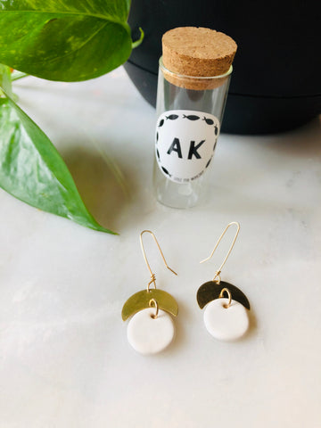White Ceramic & Brass Half Moon Earrings