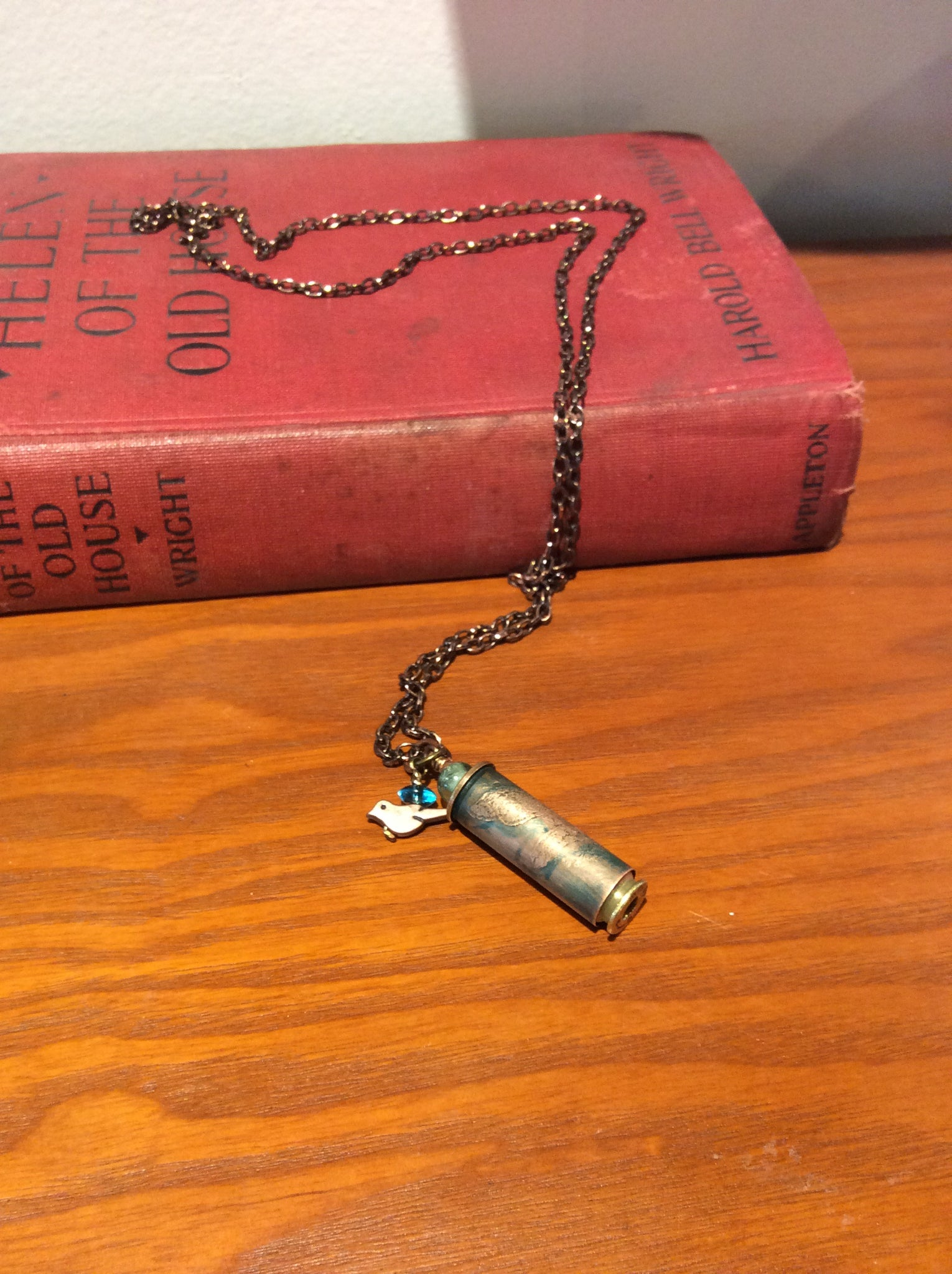 Bullet Casing Hand Etched Birdie Necklace