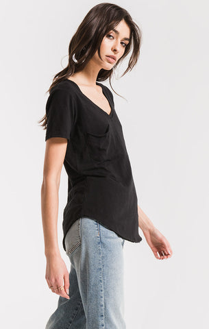 Airy Slub Pocket T Black