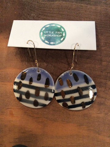 Ceramic Earrings Blue & Gold Luster Striped Hand Painted