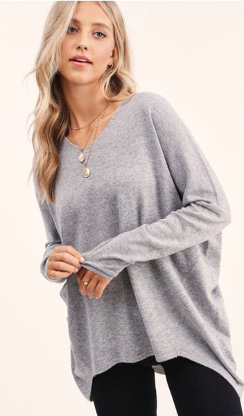 Slouchy Light Weight V Neck Front & Back Sweater