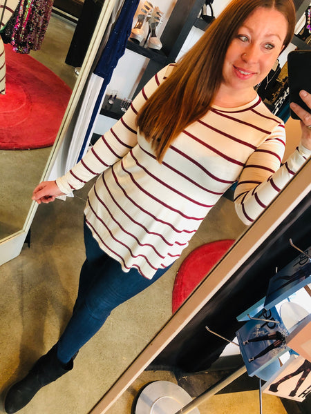 Long Sleeve White / Maroon Striped Top