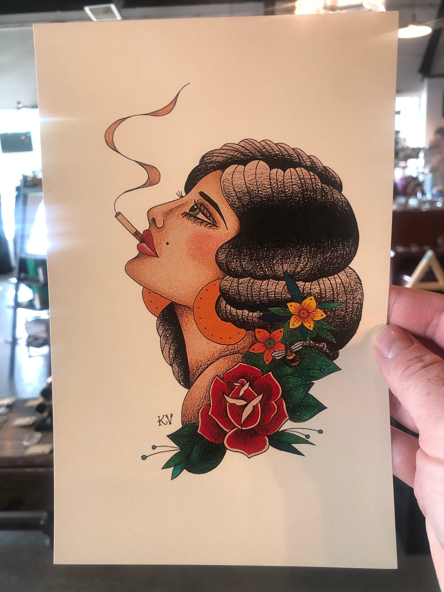 Smoking Girl Print by Katelyn VanLandingham
