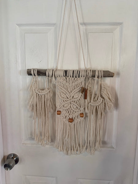 macramé Wall Hanging - Creme, Wood Accent