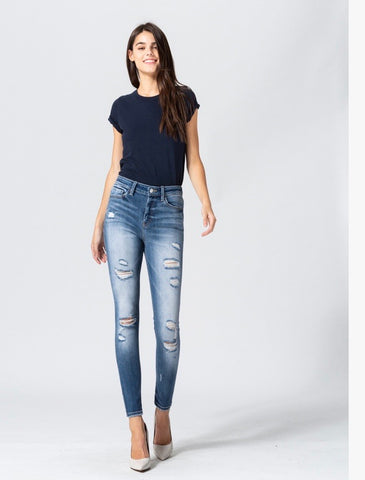 High Rise Distress Skinny Jeans
