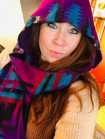 Hooded Scarf Purple, Teal, Black, Rust