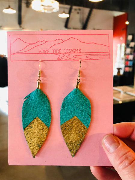 Leather & Metallic Dipped Leather Earrings