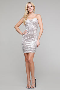 Champagne / Beige Sequin Mini Dress