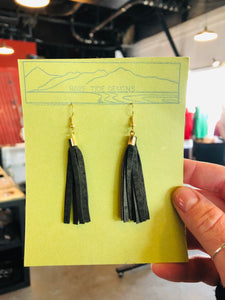 Short Olive Leather Tassel Earrings