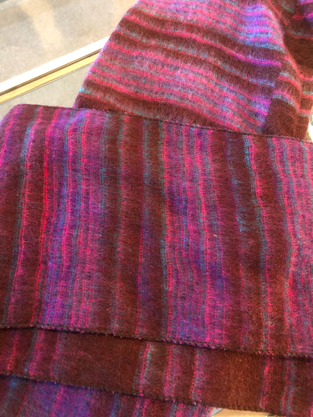 Hooded Scarf Maroon, Purple, Teal Striped