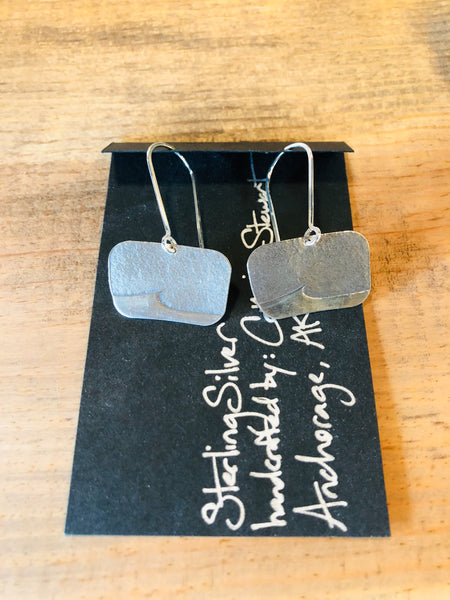 Square Wave Sterling Silver Earrings