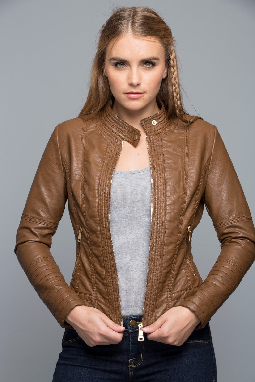 Cognac Vegan Leather Jacket