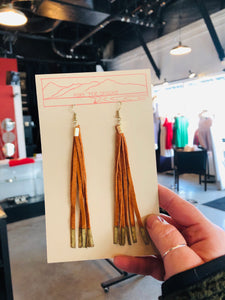 Mustard & Metallic Leather Tassel Earrings