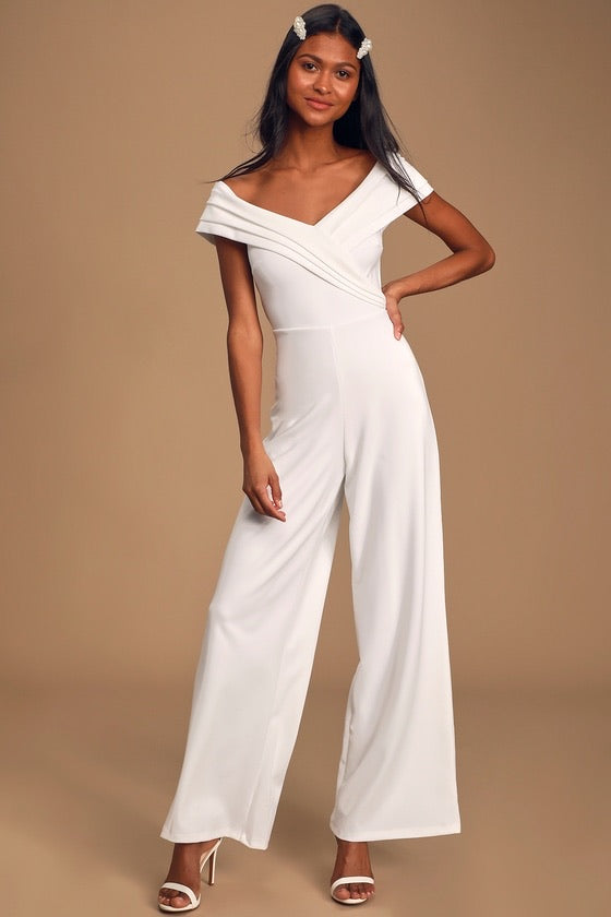 White Off Shoulder Jump Suit