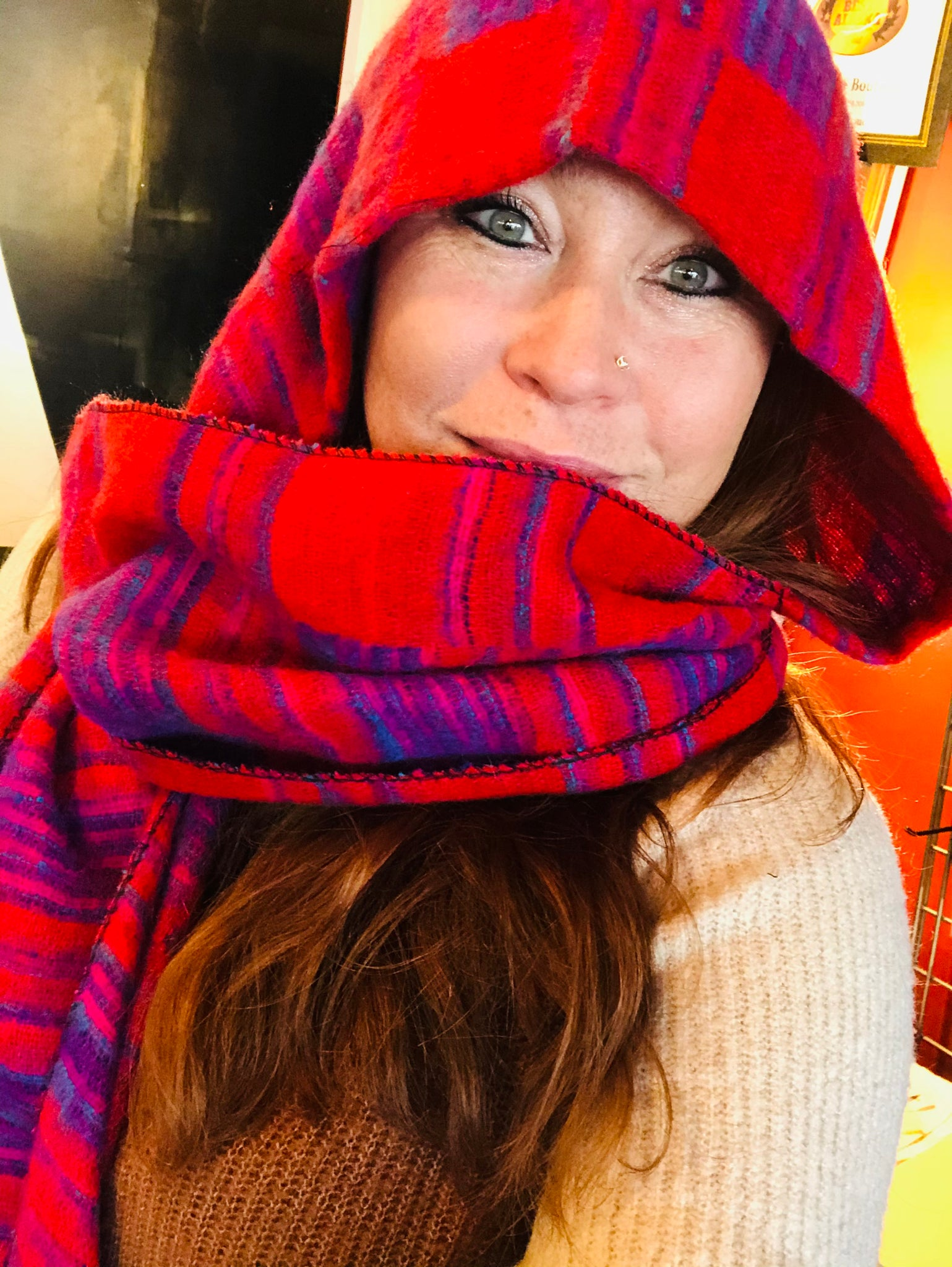 Hooded Scarf Orange, Purple Striped