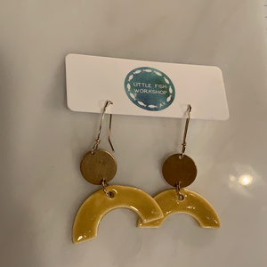 Yellow Ceramic Half Moon w/ Gold Circle Earrings