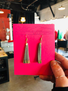Short Light Grey & Metallic Leather Tassel Earrings