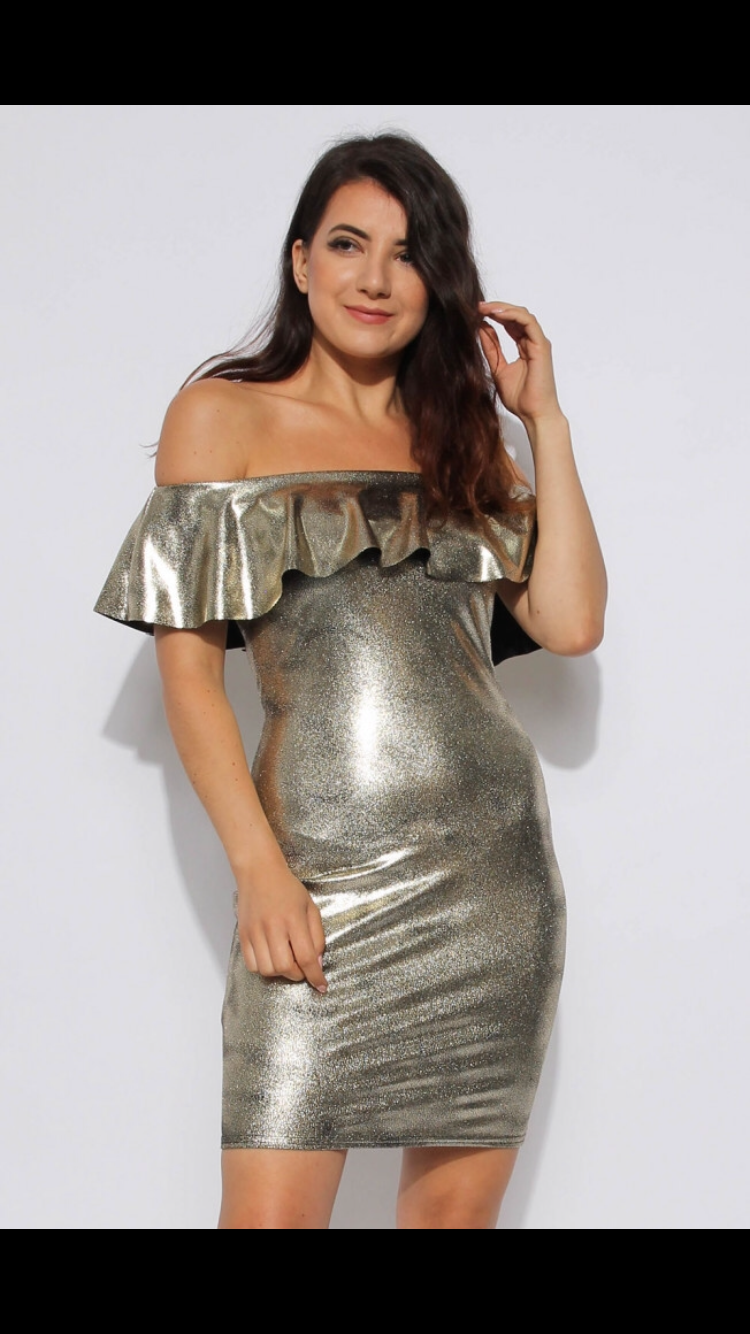 Metallic Frill Bardot Dress