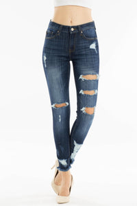 Mid Rise Frayed Hem Destroyed Skinny Jean