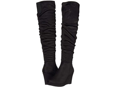 Larisa Over The Knee Suedette Wedge Boot