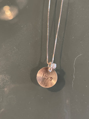 Love Sterling Silver Stamped Necklace w/ Small Gem