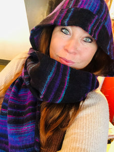 Hooded Scarf Black, Teal, Purple Stripes