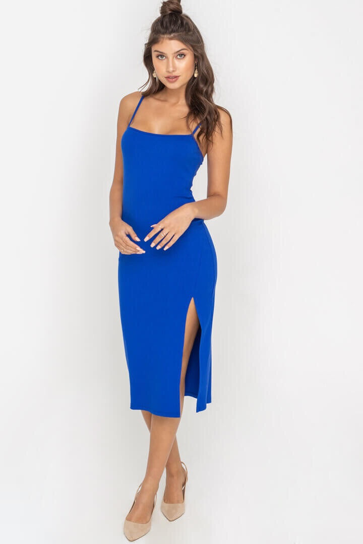 Royal Blue Fitted Midi Cami Dress