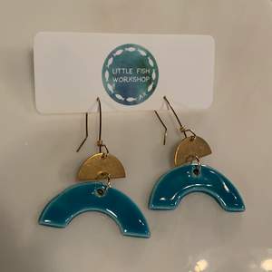 Sky Blue Ceramic Earrings w/ Half Moon