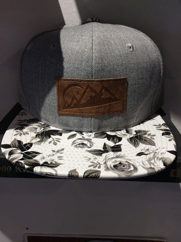 AlaskiWear Adult Trucker Hat - Grey Black White Floral