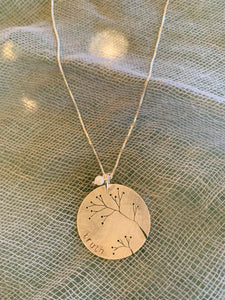 Cut Out Tree Truth Sterling Silver Disc Necklace
