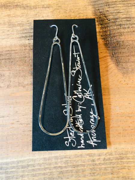 Oblong Sterling Silver Earrings