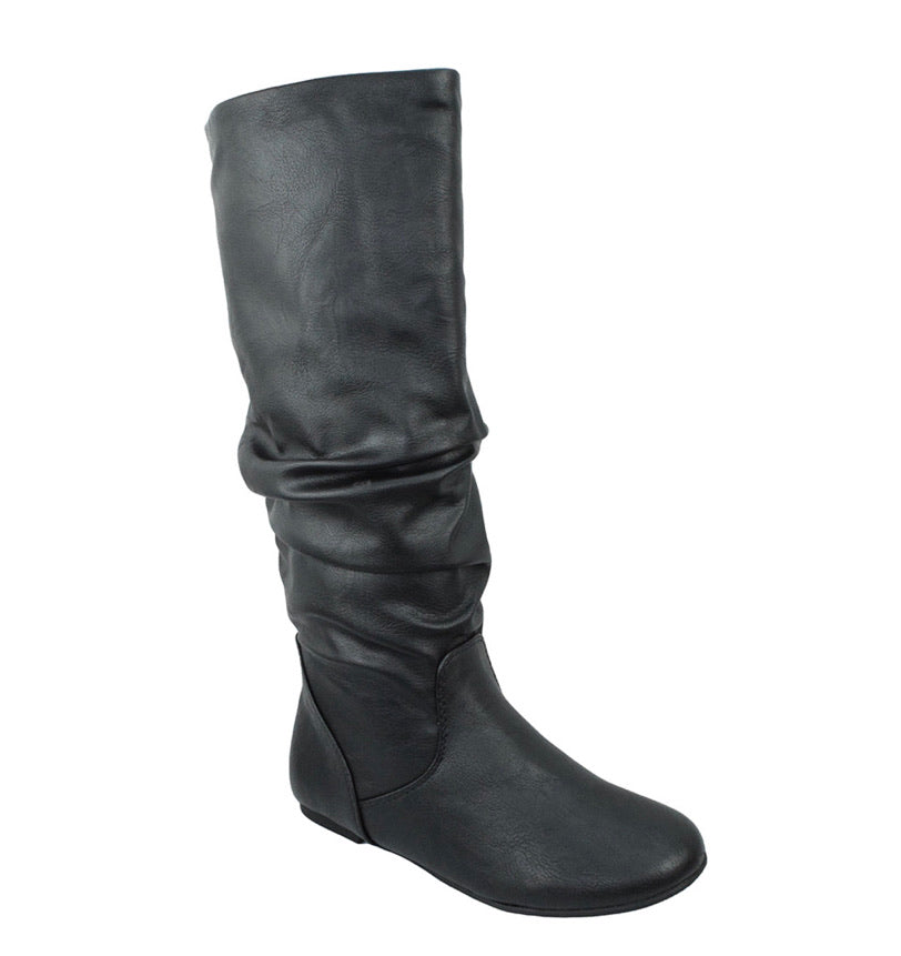 Black Flat Slouchy Boot