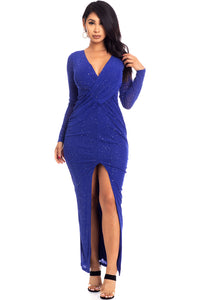 Long Sleeve Royal Blue Glitter Dress