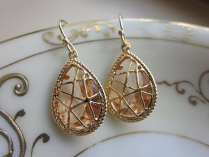 Champagne Twisted Peach / Gold Earrings