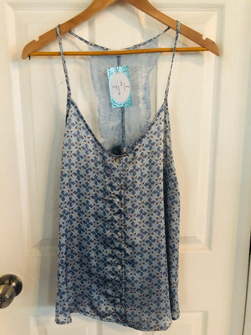 Blue Lace & Floral Racer Back Tank Blouse