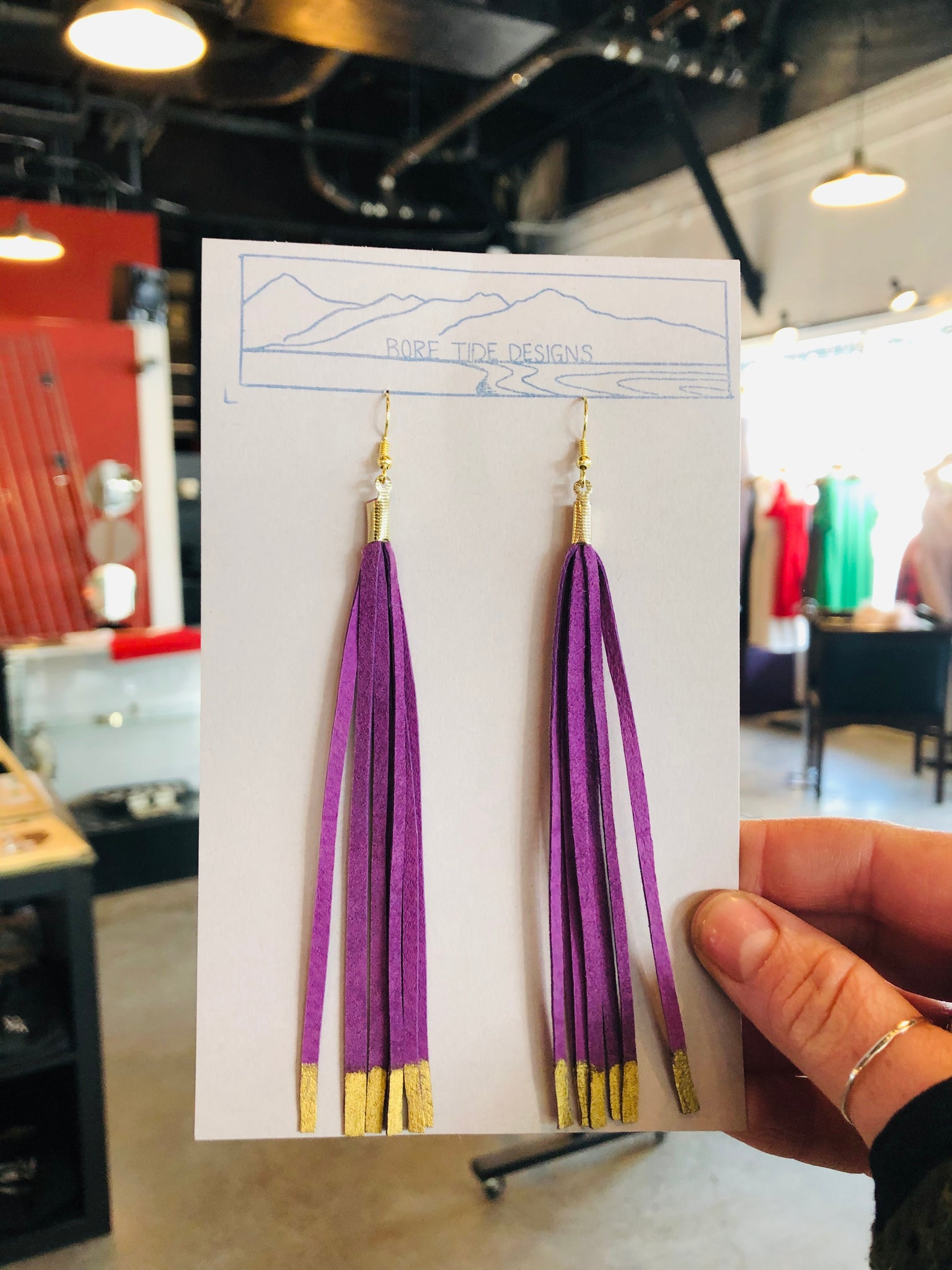 Long Purple & Gold Metallic Tassel Earrings