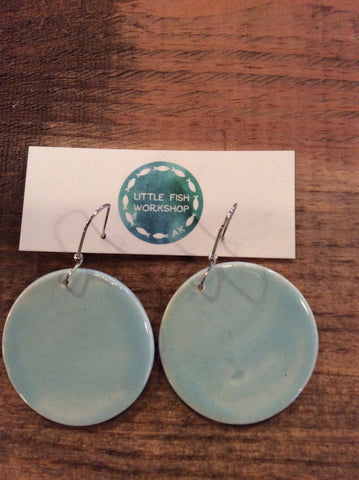 Ceramic Earrings Light Blue Hand Painted