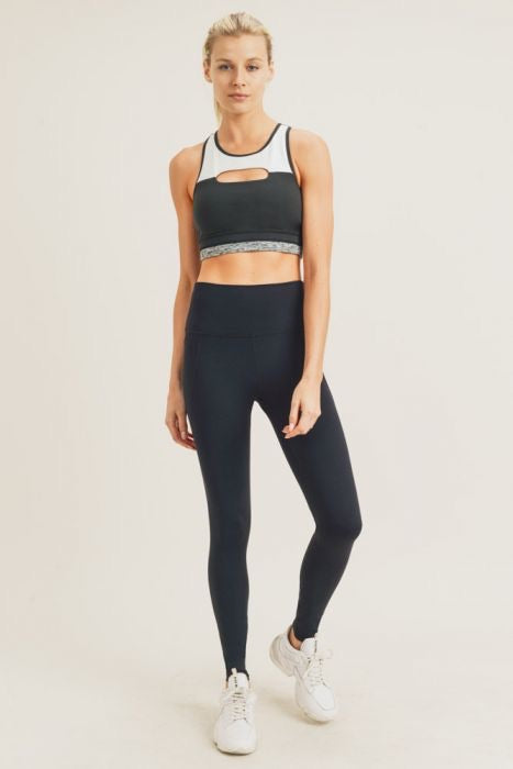Tapered Band High Waist Solid Black Legging