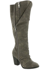 Grey Boots w/Zipper Detail
