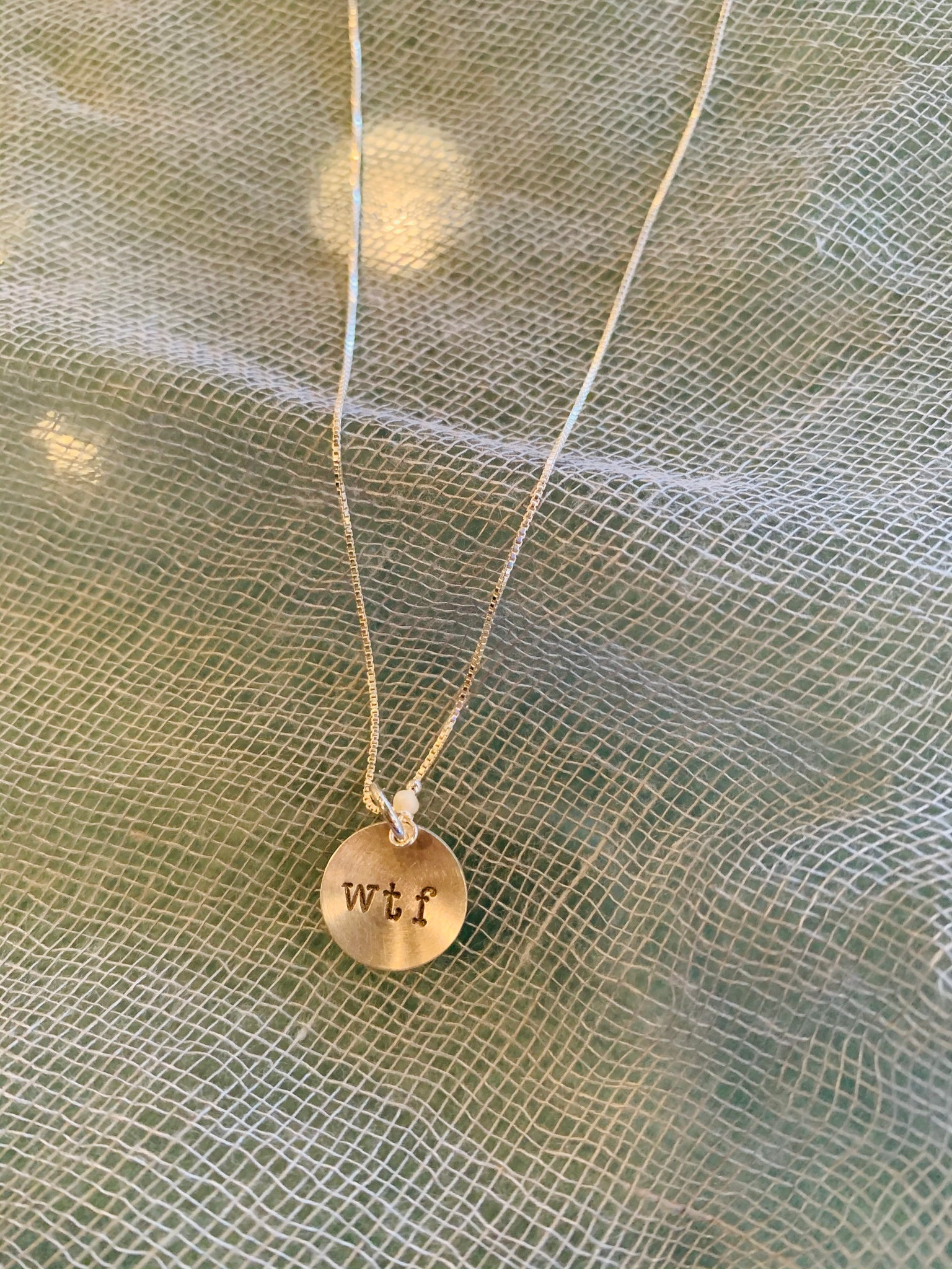 WTF Sterling Silver Stamped Necklace