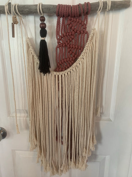 Macramé Wall Hanging - Creme, Muave, Wood Accent