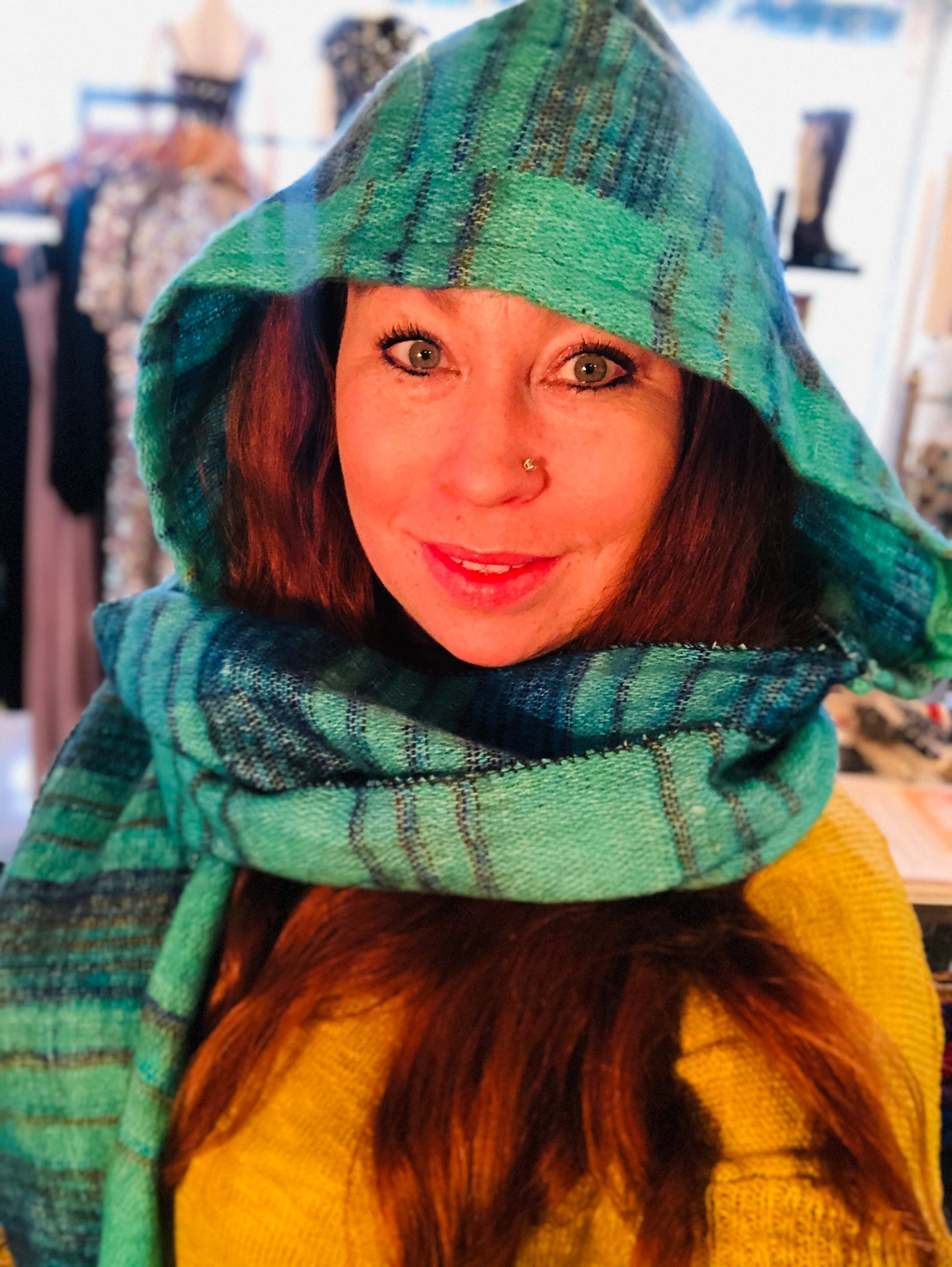 Hooded Scarf Striped Teal, Navy