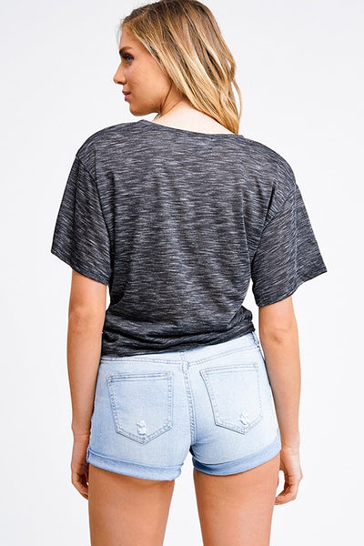 Charcoal Twist Front Crop T